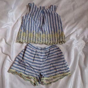 Gap eyelet stripe shorts set
